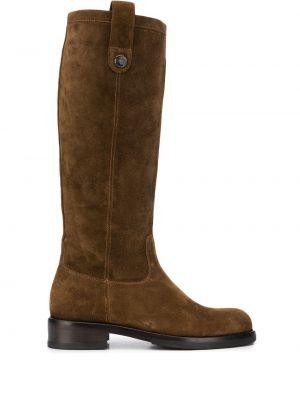 Замшевые коричневые сапоги без каблука на каблуке круглые Alberto Fasciani