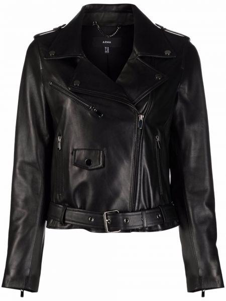 Кожаная куртка на молнии - черная Arma