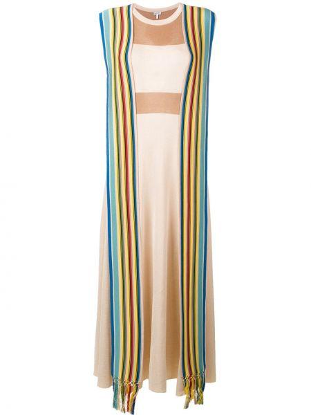 Платье макси в полоску с рукавами Loewe