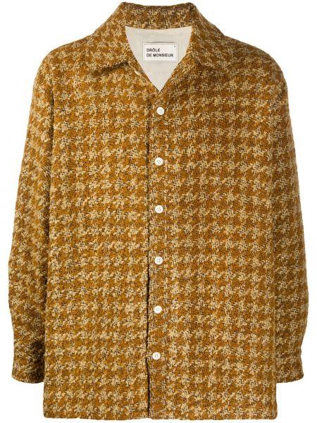 Klasyczna żółta klasyczna koszula z długimi rękawami Drole De Monsieur