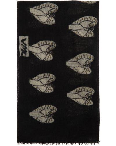 Черный кашемировый шарф с вышивкой Frenckenberger