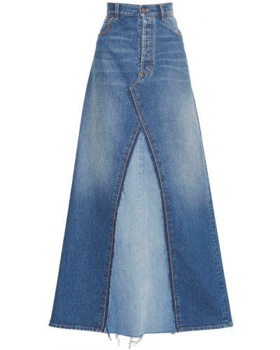 Джинсовая синяя юбка макси на пуговицах Maison Margiela