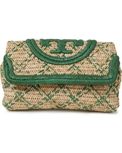 Zielona kopertówka skórzana z haftem Tory Burch