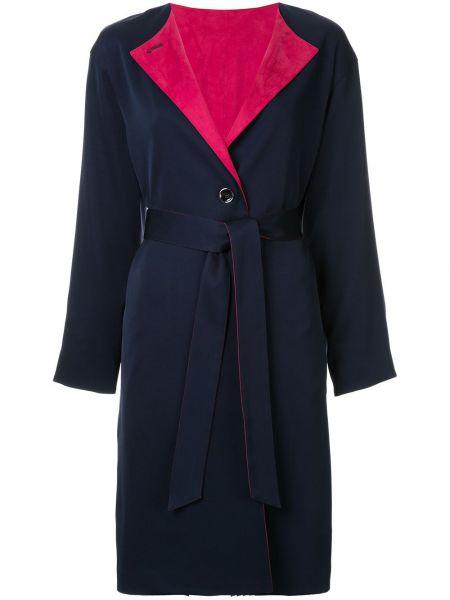 Синее пальто классическое с поясом на пуговицах Guild Prime