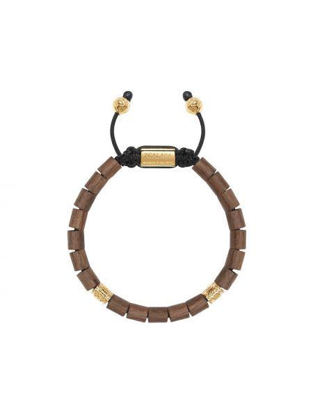 Złota bransoletka z koralikami - czarna Nialaya Jewelry