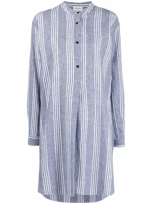 Синяя рубашка в полоску с длинными рукавами Woolrich