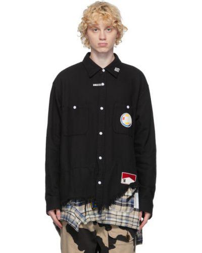 Czarna koszula bawełniana z długimi rękawami Miharayasuhiro