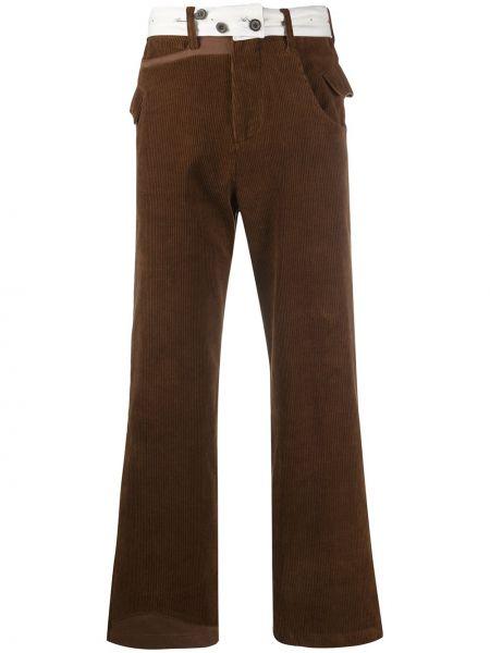 Brązowe spodnie sztruksowe z paskiem Ader Error