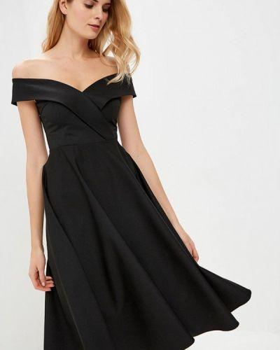 Платье с открытыми плечами черное Anrostore