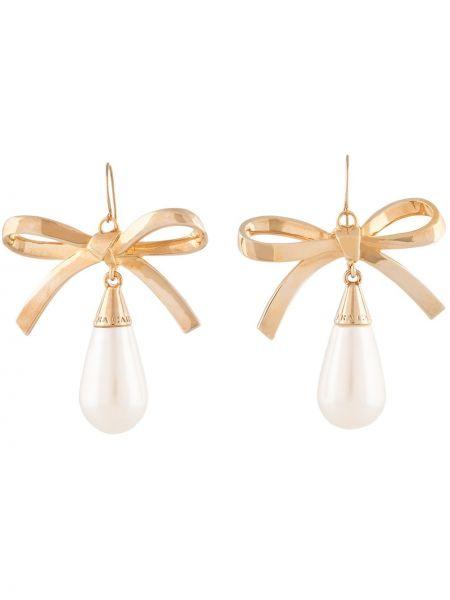 Kolczyki ze sztyftem złoto z perłami na hakach Carolina Herrera