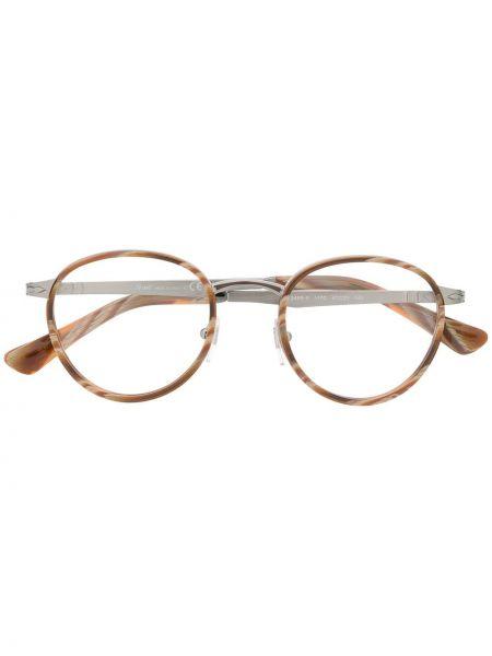Коричневые очки круглые металлические Persol
