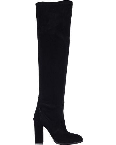 Черные замшевые ботфорты на каблуке Genuin Vivier