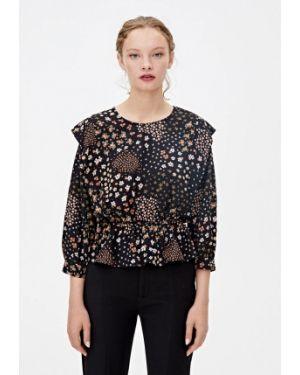 Блузка с длинным рукавом осенняя черная Pull&bear