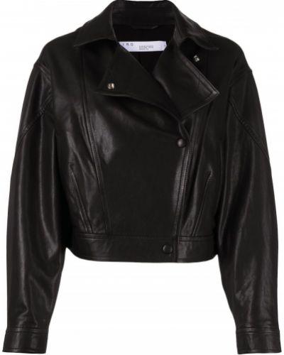 Черная кожаная короткая куртка с воротником Iro