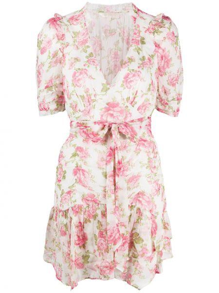 Шелковое с рукавами розовое платье мини Loveshackfancy