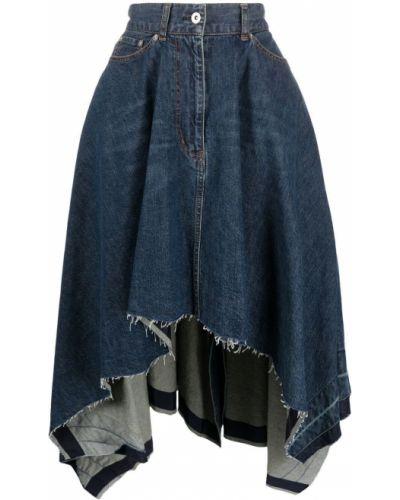 Niebieska sukienka jeansowa asymetryczna z paskiem Sacai