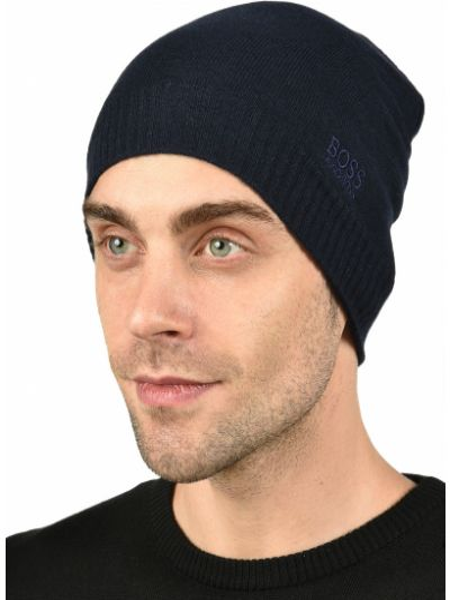 Синяя шерстяная шапка Hugo Boss