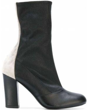 Ботинки на каблуке черные замшевые Michel Vivien