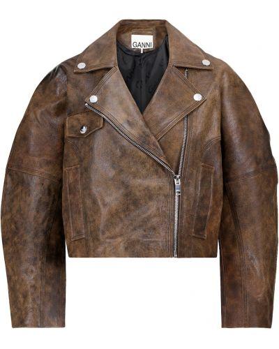 Коричневая кожаная куртка Ganni