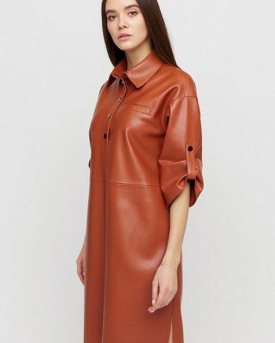 Коричневое кожаное платье Cardo