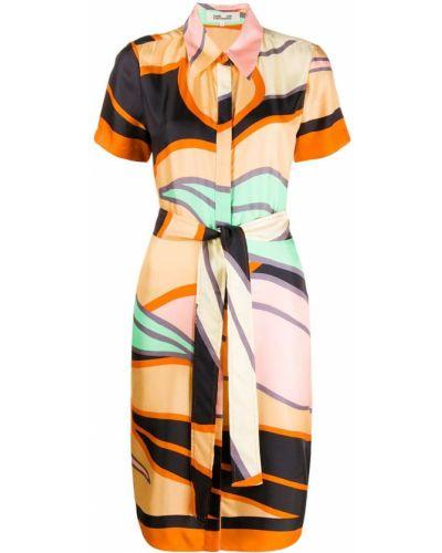 Шелковое классическое платье мини с воротником с короткими рукавами Dvf Diane Von Furstenberg