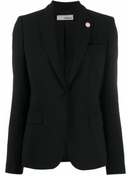 Однобортный черный классический пиджак с карманами Lardini