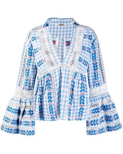 Блузка с открытыми плечами с воротником-стойкой с вышивкой Dodo Bar Or