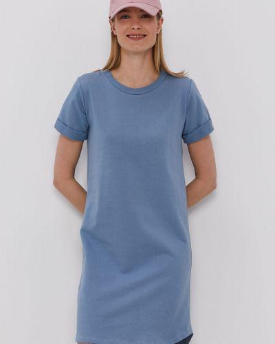 Niebieska sukienka mini dzianinowa krótki rękaw Hailys