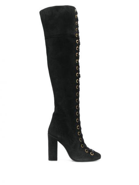 Ажурные черные сапоги без каблука до середины колена круглые Maison Ernest