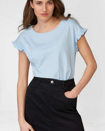 Niebieski t-shirt bawełniany krótki rękaw Orsay