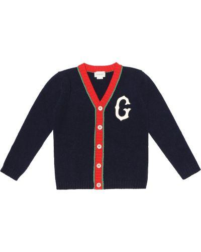 Вязаный кардиган итальянский синий Gucci Kids