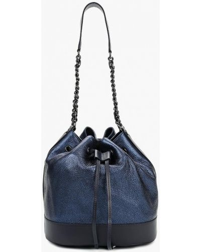 Кожаная сумка итальянский синий Madeleine
