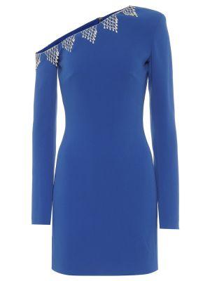 Синее асимметричное коктейльное платье из вискозы David Koma