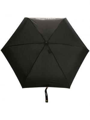 Czarny parasol z printem srebrny Moschino