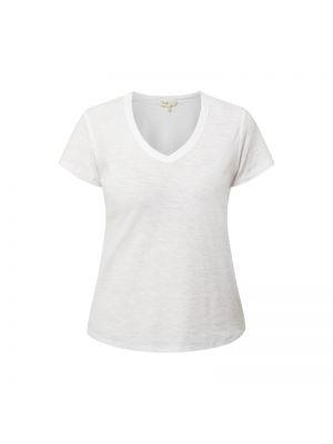 Biały t-shirt bawełniany z dekoltem w serek Levete Room