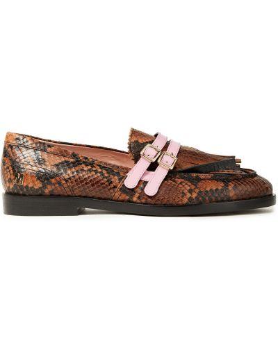 Wężowe loafers z printem skorzane Msgm