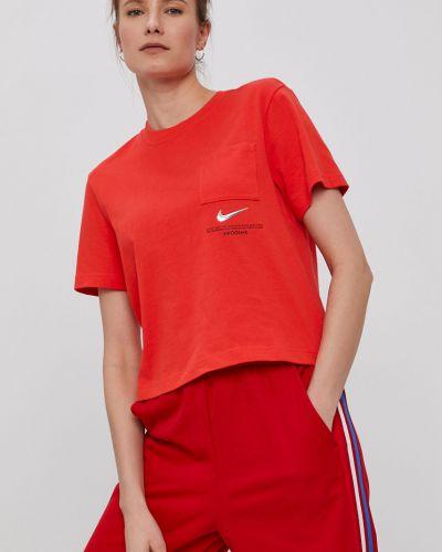 Czerwony top bawełniany casual Nike Sportswear