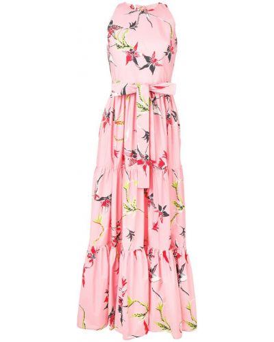 Платье с поясом розовое с открытой спиной La Doublej