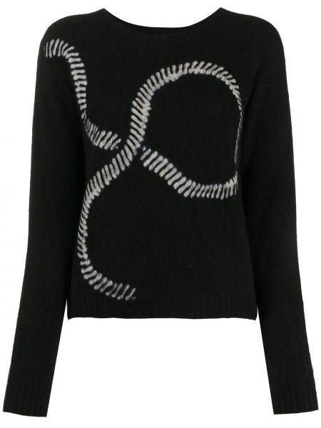 Кашемировый черный свитер в рубчик с круглым вырезом Suzusan
