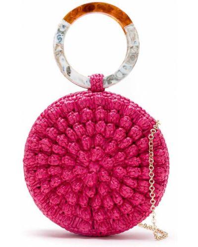Розовая соломенная сумка с ручками Serpui