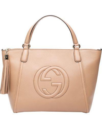 Кожаная сумка - бежевая Gucci