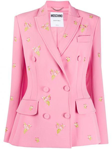 Розовый классический пиджак двубортный с карманами Moschino