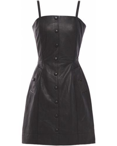 Кожаное черное платье мини с подкладкой Walter Baker