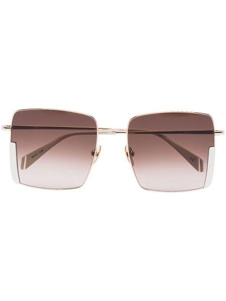 Облегченные желтые солнцезащитные очки квадратные металлические Kaleos