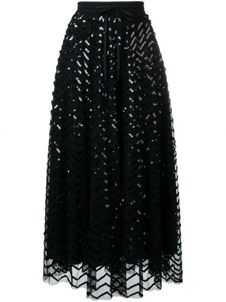 Ze sznurkiem do ściągania z wysokim stanem czarny spódnica midi z haftem Parosh