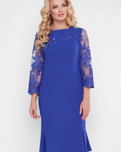 Вечернее платье осеннее синее Vlavi
