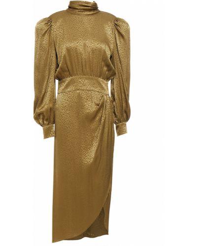 Шелковое зеленое платье миди с вырезом Ronny Kobo
