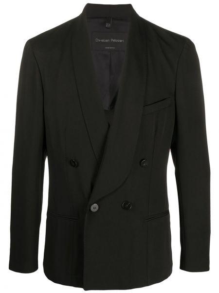 С рукавами черный прямой классический пиджак с карманами Christian Pellizzari
