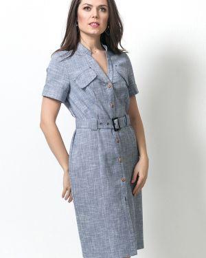 Приталенное платье миди на пуговицах с манжетами с короткими рукавами Modellos