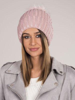 Ciepły różowy kapelusz materiałowy Fashionhunters
